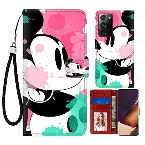 SAKUULO Cartoon Wallet Case for Samsung Galaxy Note 20 Ultra 5G Mickey Mouse Colorful Graffiti Full Shockproof Leather Case Magnetic Closure Kickstand Cover with Card Holder and Wrist Strap