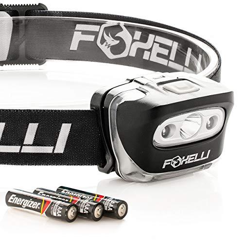 Foxelli Linterna Frontal LED – para Adultos y niños, Correr, Camping, Senderismo, luz Blanca y roja, Faro Ligero Impermeable con Diadema cómoda, 3 Pilas AAA Incluidas