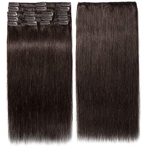 Clip In Extensions Echthaar 100% Remy DOUBLE DRAWN Haarverlängerung 8 Tressen Dick zum Ende Glatt 55cm - 110g - Dunkelbraun #02