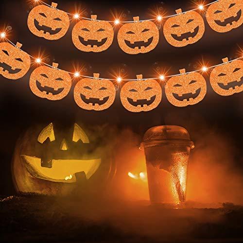 Luci di Halloween con 13 Pezzi Carta di Zucca, 9,8 ft 30 Luci a Led Arancioni 2 Modalità Luci di Halloween a Batteria per Decorazioni per Il Ringraziamento, Giardino, Interni ed Esterni