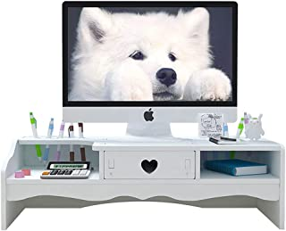 Support de moniteur d'ordinateur avec tiroirs - Support blanc pour télévision et imprimante, 2 niveaux pour écran de burea...