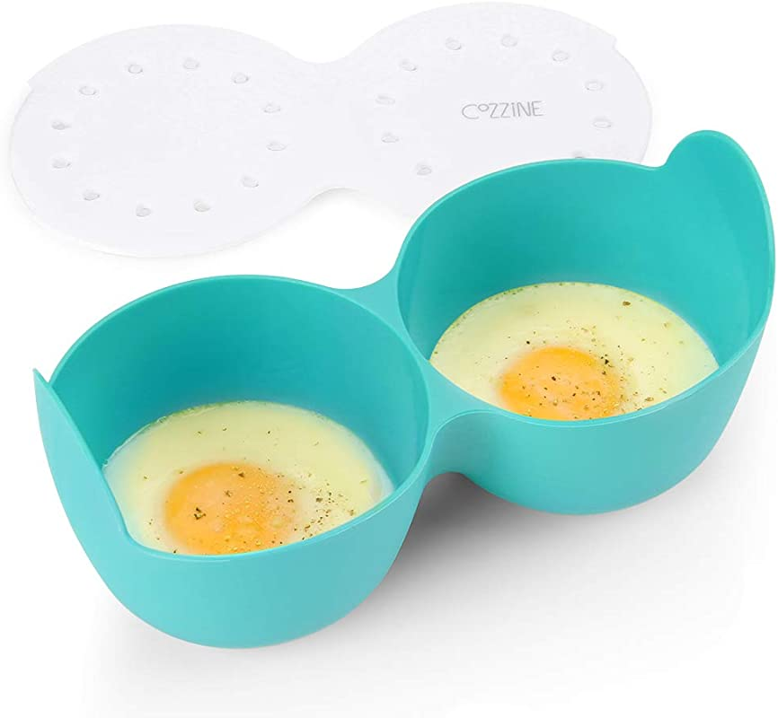 Microwave Egg Poacher Cozzine Silicone Egg Cooker Poaching Cups Egg Rings For Microwave 2 Cavity With Ring Standers BPA Free
