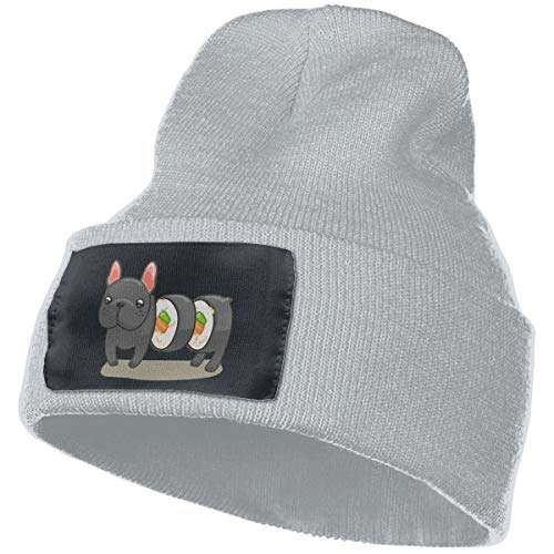 NFGrfd Frenchie Sushi Roll Warm Winter Hat Knit Beanie Skull Cap Cuff Beanie Hat Winter Hats for Men & Women Gray