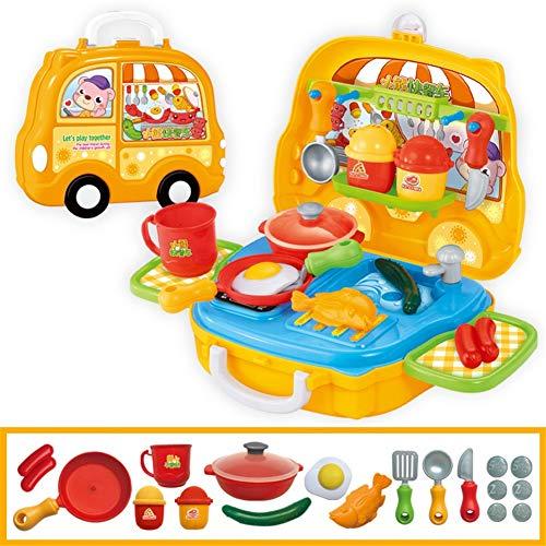 Metermall Kinder niedlichen Cartoon Spielhaus Koffer Form Spielzeug Set Schnellimbiss A