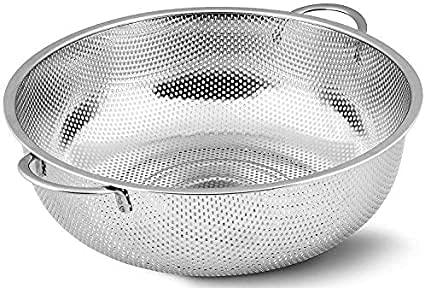 Select Kitchen Stainless Steel Strainer 34.5 cm Fine Mesh Sieve with Heavy Duty Handles Metal Colander