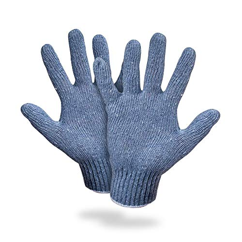 AMZ Cotton Work Gloves with Elastic Knit Wrist Pack of 24 Gloves 10 Oz Garden Gloves 10 Size Blue Gray Color Washable Reusable Gloves for Painter Mechanic Industrial Warehouse Gardening Construction