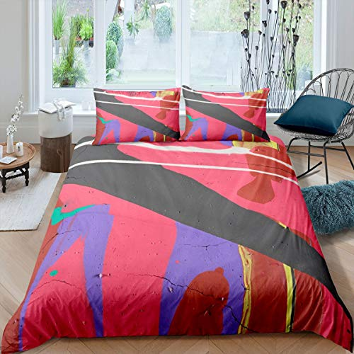 Graffiti Style Comforter Cover Geometric Stripe Bedding Set for Boys Girls Children Abstract Art Duvet Cover Room Decor Double Size Quilt Cover 3Pcs