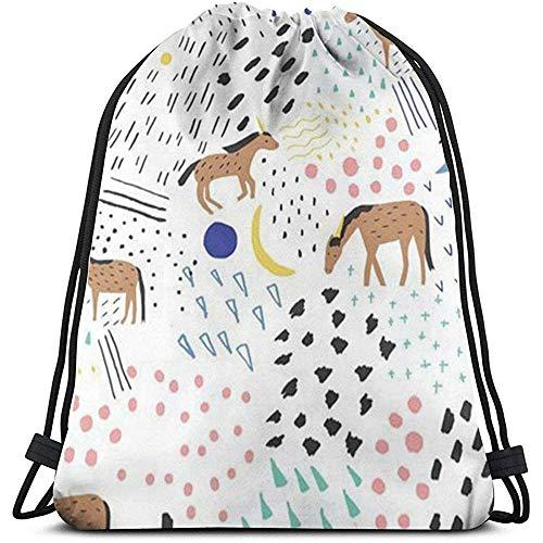 NA Kordelzug Rucksack Buntes Pferd Muster 3D-Druck String Tasche Sackpack Cinch Tragetaschen Geschenke Für Frauen Männer Fitnessstudio Einkaufen Sport Yoga