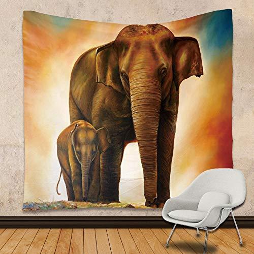 DPZDW Playa Toalla Toalla Playa Gigante Tapiz De La Familia del Elefante De La Tapicería Casera Impresa Bohemia para Sala De Estar Habitación Decoraciones 200X150Cm