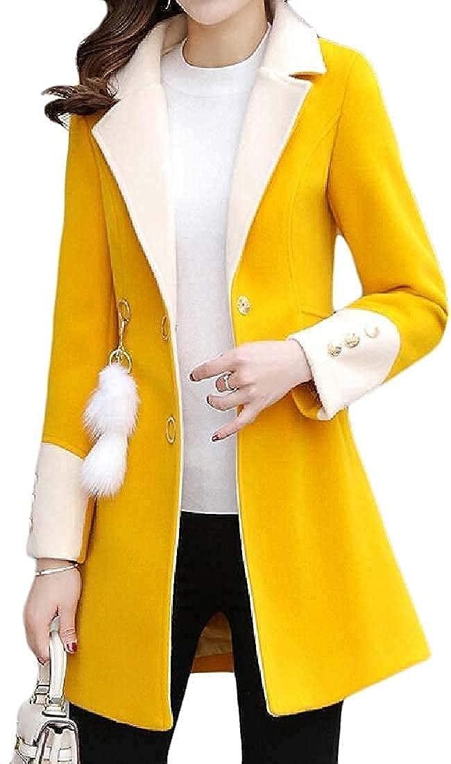 Womens Fall-Winter Wool-Blend Lapel Overcoat Slim Pea Coat Jacket