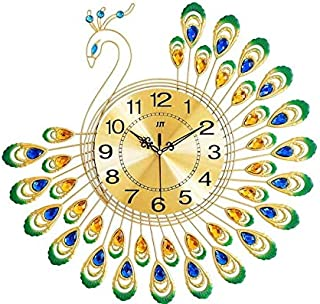 Beauenty Luxury Large Wall Clock Silent Metal Dial Diamonds Peacock Clocks Gold Decortion Home Living Room Bedroom Perfect...