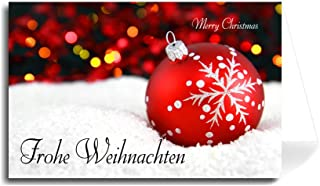 German Greeting Card - Christmas Ball in Snow Merry Christmas (Florentine Cursive Font) 10 Cards