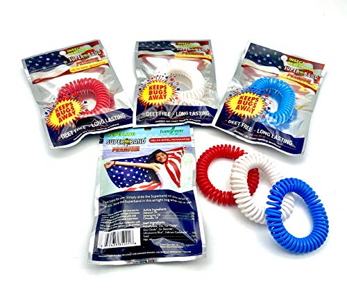 Patriotic SUPERBAND Premiums - Pack of 20 Individually Wrapped All Natural Mosquito Repellent Bracelets - No Messy Lotions or Sprays - Fast & Easy One Size Fits All!