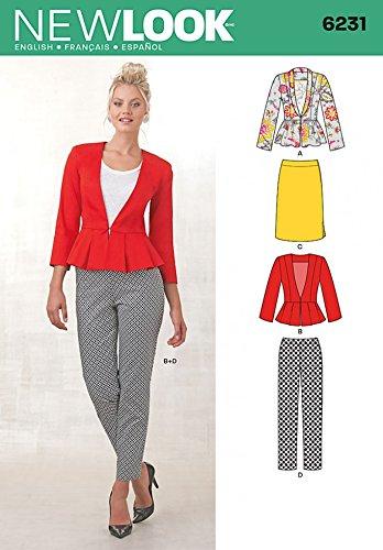 New Look Damen Schnittmuster 6231Schößchen Jacken, Röcke und Hosen + Gratis Minerva Crafts Craft Guide