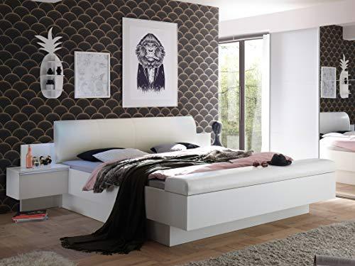 AVANTI TRENDSTORE - Marvin - Letto matrimoniale, struttura con cassetto salvaspazio integrato e con 2 comodini, in laminato di pino bianco/tartufo. Dimensioni LAP 285x97x249 cm