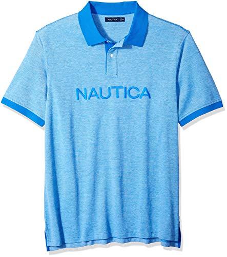 Nautica Polo de Manga Corta Grande y Alta para Hombre con Logotipo sólido, Azul Capri, XXX-Large