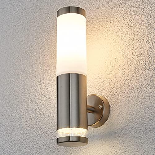 Lindby Edelstahl Wandleuchte aussen   Wandlampe aussen IP44   1x 11W E27 (exklusive) & 1x 0,7 W LED A++   Außenbeleuchtung Wand   Aussenwandleuchte