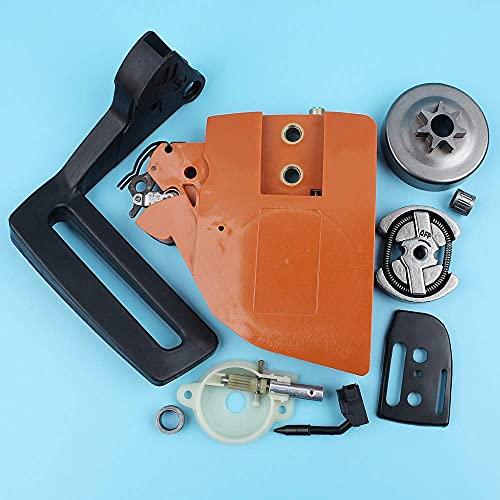 HaoYueDa Kit de Bomba de Aceite de Tambor de Embrague de Cubierta de piñón de Freno de Cadena Compatible con Husqvarna 13613714142 Protector de manija de Motosierra Placa de Barra de Engranaje Hel