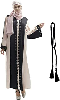Deylaying Vestido de Musulmana Kaftan Abaya Islámica para Mujer Ramadan Malasia Largo Cuello Redondo Toga con