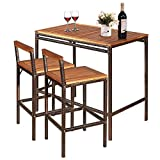 Tangkula 3 PCS Patio Bar Table Set, Outdoor Rattan Bar Set Bistro Set with Acacia Wood Top, Wood Table Set with 2 Bar Chairs for Dining Room, Backyard, Patio and Balcony