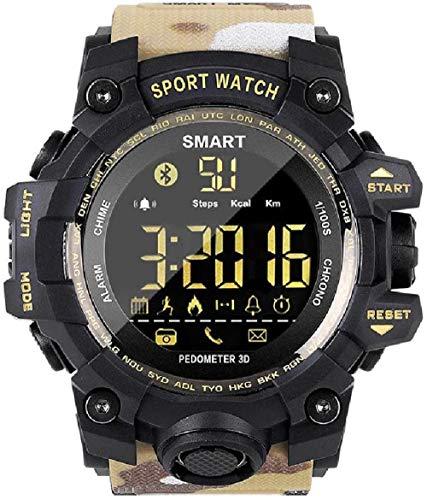 SHIJIAN Reloj inteligente de pulsera de fitness militar, función de cronómetro de contador de pasos, consumo de energía, recordatorio de llamadas, color amarillo