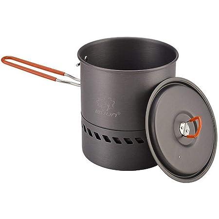 アウトドアケトルキャンプ鍋調理器具キャンピングやかん ピクニックポット2〜3人用ポータブル高効率省エネ集熱ポット ヒートエクスチェンジクッカー1.5L