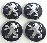 x4Alta Calidad Peugeot 60mm aleación Badge cromo negro Logo Emblema Mediados Hub–Tapas Buje tapas Buje Tapa Llanta Tapa Tapacubos nadadores Peugeot 106107206207306307506507108208