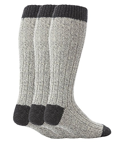 Workforce - 3er pack herren lang wolle winter arbeitssocken/wollsocken in blau & grau (39-45 eur, WFH0035GRY)