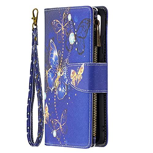 Miagon 9 Carte Fentes Coque pour Samsung Galaxy A03S,Coloré Fermeture éclair Cover Cuir Etui Housse PU Portefeuille Livre Magnétique Stand Fonction,Bleu Papillon