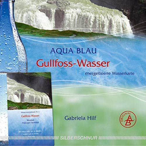 Gullfoss-Wasser: Wasserenergiekarte, Island, Prüfungen bestehen/Weisheit, gold+orangefarben: Energetisierte Wasserkarte