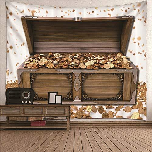 Aimsie Tapiz de pared de poliéster, decoración de pared para niñas, marrón y dorado, 260 x 240 cm