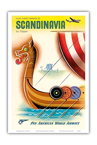 Pan American World Airways (PAA) - Now Direct Service To Scandinavia by Clipper - Drakkar Viking Longship (Dragonship) - Vintage Travel Poster Plakat Kunstdruck Airline Flugfahrt von Jean Carlu c.1950 - Master Arte Imprimir - 12in x 18in
