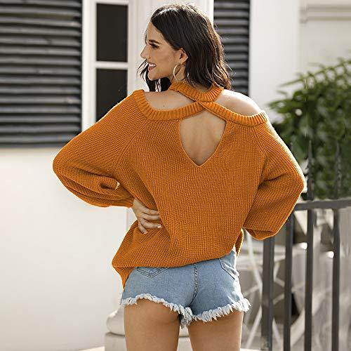 Avsvcb Otoño e Invierno Nuevas Mujeres Europeas y Americanas Espalda melocotón corazón suéter de Punto Hueco Cuello Redondo Halter sin Tirantes suéter Mujeres