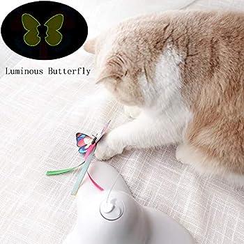 Vealind Jouet interactif d'intérieur pour chat avec papillon rotatif à 360°