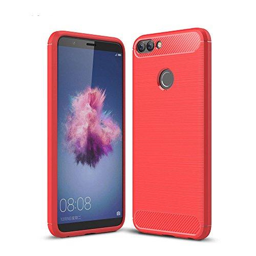 Coque Asus Zenfone Max Plus, GOGME Ultra-mince Coque Matériau en silicone Housse Etui [Protection maximale de choc][Technologie avancée d'absorption de choc], Rouge