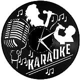 Karaoke Reloj de Pared de Vinilo Reloj de Vinilo Reloj de Pared Arte Negro Arte Hecho a Mano Decoraciones para el hogar Arte Idea 12 Pulgadas