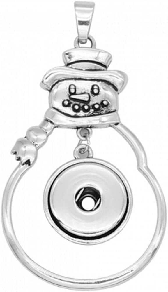 My Prime Gifts Christmas Snowman Pendant Dangle Snap Jewelry Pendant fits 18-20mm Ginger Style Button Charms