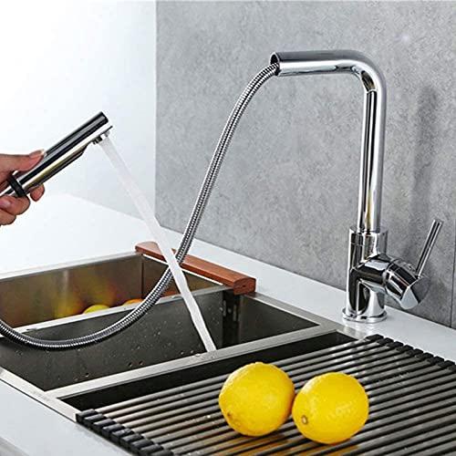 TEPET Grifo de Cocina Extensible con rociador extraíble (Aproximadamente 60 cm) Grifo Mezclador Giratorio de 360 ° para Fregadero Grifo Monomando c