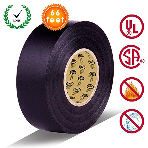 Black Electrical Tape by LYLTECH, Pass UL/CSA Certification. Waterproof,Flame Retardant,Strong Rubber Based Adhesive, 600V with 14℉ to 176℉. Size : 66 feet x 3/4 inch x 0.07 mil (Black)