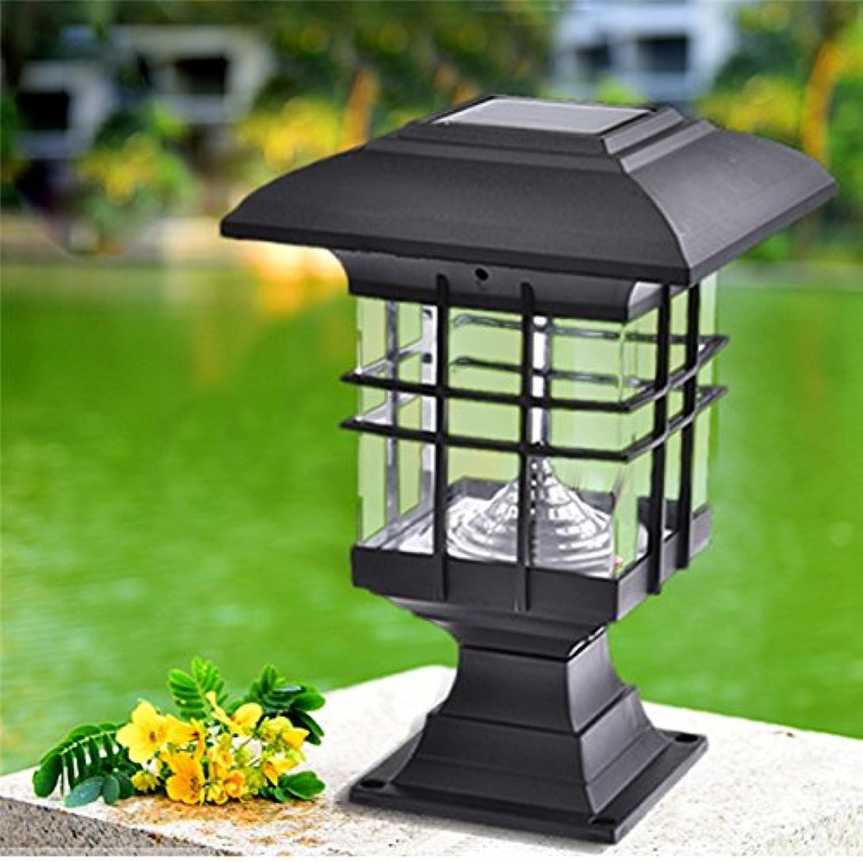 Wuchance 2pcs 5W imprgniern LED-Sonnenenergie-Pfosten-Wand-Lampen Garten-Rasen-Landschaftslichter im Freien (Farbe   Weiß)