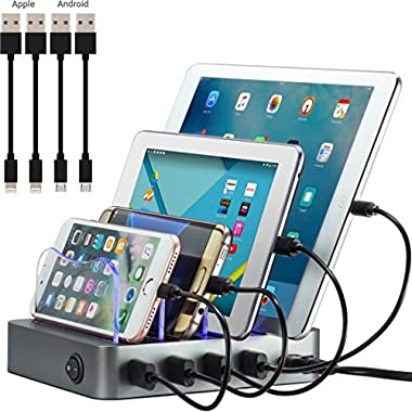 Simicore Charging Station Dock & Organizer for Smartphones, Tablets & Other Gadgets - Compact Multiple USB Charger & Phone Docking Station with Charging Status Indicator (Space Gray)