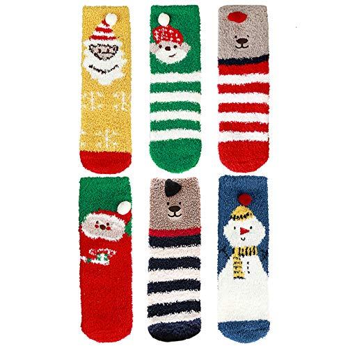 Coxeer 6 Pairs Christmas Fuzzy Socks Women Warm Plush Slipper Sock Santa Claus Socks with 3D Cute Pattern for Kids Girls Winter Home