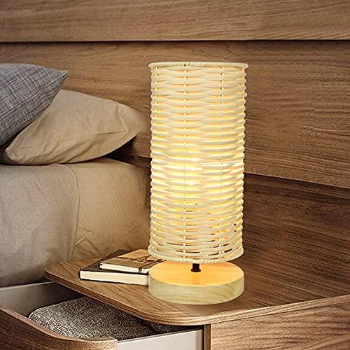 Depuley Modern LED Tischlampe Rund aus Bambus und Holz, Rattan Tischleuchte mit Bambus Lampenschirm, 40 Watt, E14-Fassung Nachtlicht Leselampe für Schalfzimmer Kinderzimmer, Glühbirne enthalten
