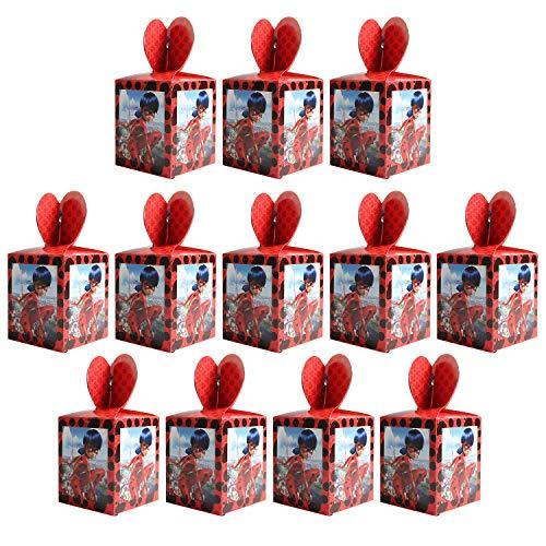 Qemsele Cajas De Fiesta Bolsas de cumpleaños, 12Pcs Regalo Cajas, Cajas de Caramelo Tema Reutilizable Bolsas de Fiesta Bolsas para cumpleaños niños la Fiesta favorece la Bolsa Bolsas Fiesta (Ladybug)