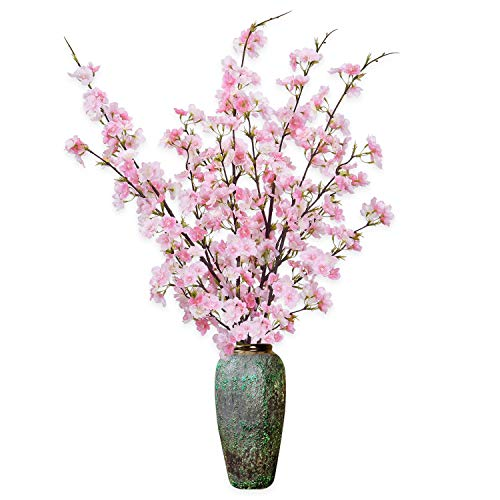 Shiny Flower 4PCS Artificial Cherry Blossom Flowers, Silk Peach Flowers Arrangements Tall Artificial Plant 42.9' in Tall for Wedding Office Party Hotel Yard Home Decoration