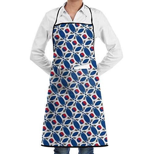 Lawenp Delantal con diseño Brillante de Corea del Sur con Bolsillos bloqueados para Cocina, Chef, Artista, Parrilla, Barbacoa, Tienda, horneado (20.5 x 28.3 Pulgadas)