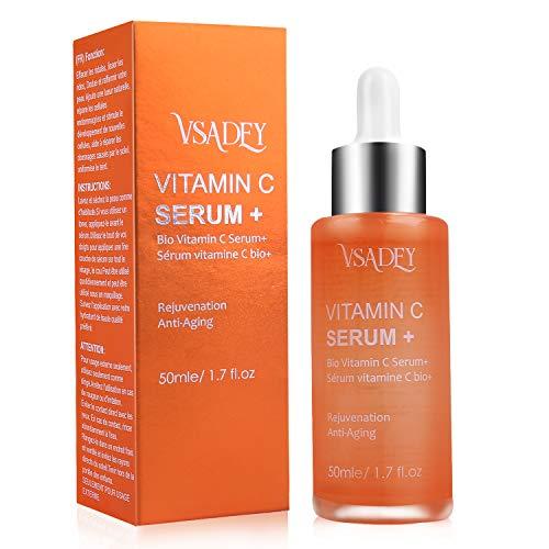VSADEY Serum Facial Antiarrugas Antienvejecimiento para la Piel, Mejora los bolsillos debajo del suero para los ojos (Serum Facial Vitamina C 25%)