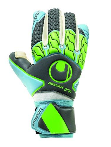 Uhlsport ABSOLUTGRIP Tight HN rękawice bramkarskie, ciemnoszare/cyjan/fluo zielony, 10