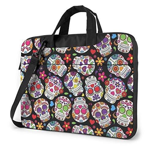 Sugar Flowers Skull Laptop Bag Compatible con Ultrabook de 13-15.6in Que Lleva el Bolso de Hombro con Correa,