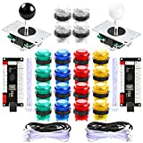Hikig 2 Player LED Arcade Games DIY Parts Kit 2X USB Encoders + 2X Arcade Joysticks + 20x LED Arcade Buttons for Raspberry Pi and Windows